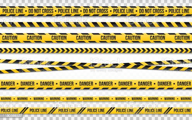 Police Line Do Not Cross Isolated On Transparent Backdrop Police Tape Set Restriction Zone Or Crime Place Black And Yellow Striped On White Background Vector Illustration - Arte vetorial de stock e mais imagens de Abstrato