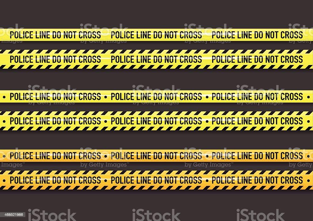 Police line do not cross tape vector art illustration