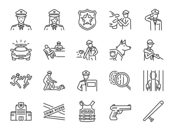 illustrazioni stock, clip art, cartoni animati e icone di tendenza di police line icon set. included the icons as cop, weapon, suspects, arrest, justice and more. - polizia