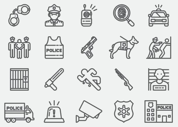 Police Line icônes - Illustration vectorielle