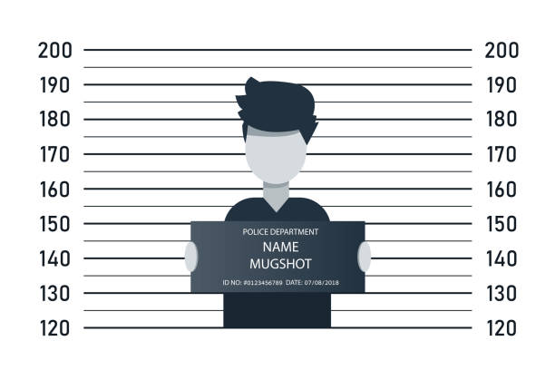 Police lineup, mugshot template with a table. Design silhouette of anonymous. Abstract concept graphic element. Creative vector illustration EPS10 Police lineup, mugshot template with a table. Design silhouette of anonymous. Abstract concept graphic element. Creative vector illustration EPS10 police line up stock illustrations
