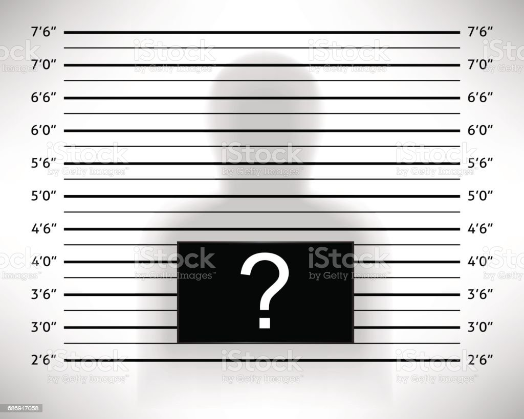 Police lineup or mugshot template with anonymous shadow. vector art illustration