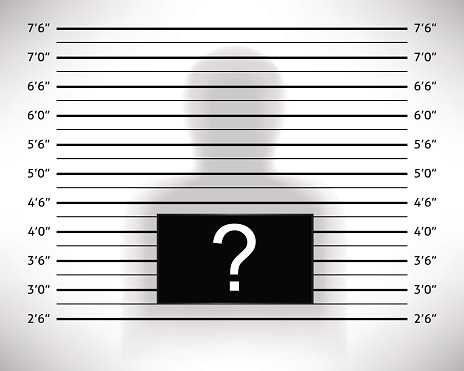 police lineup or mugshot template with anonymous shadow. Black Bedroom Furniture Sets. Home Design Ideas