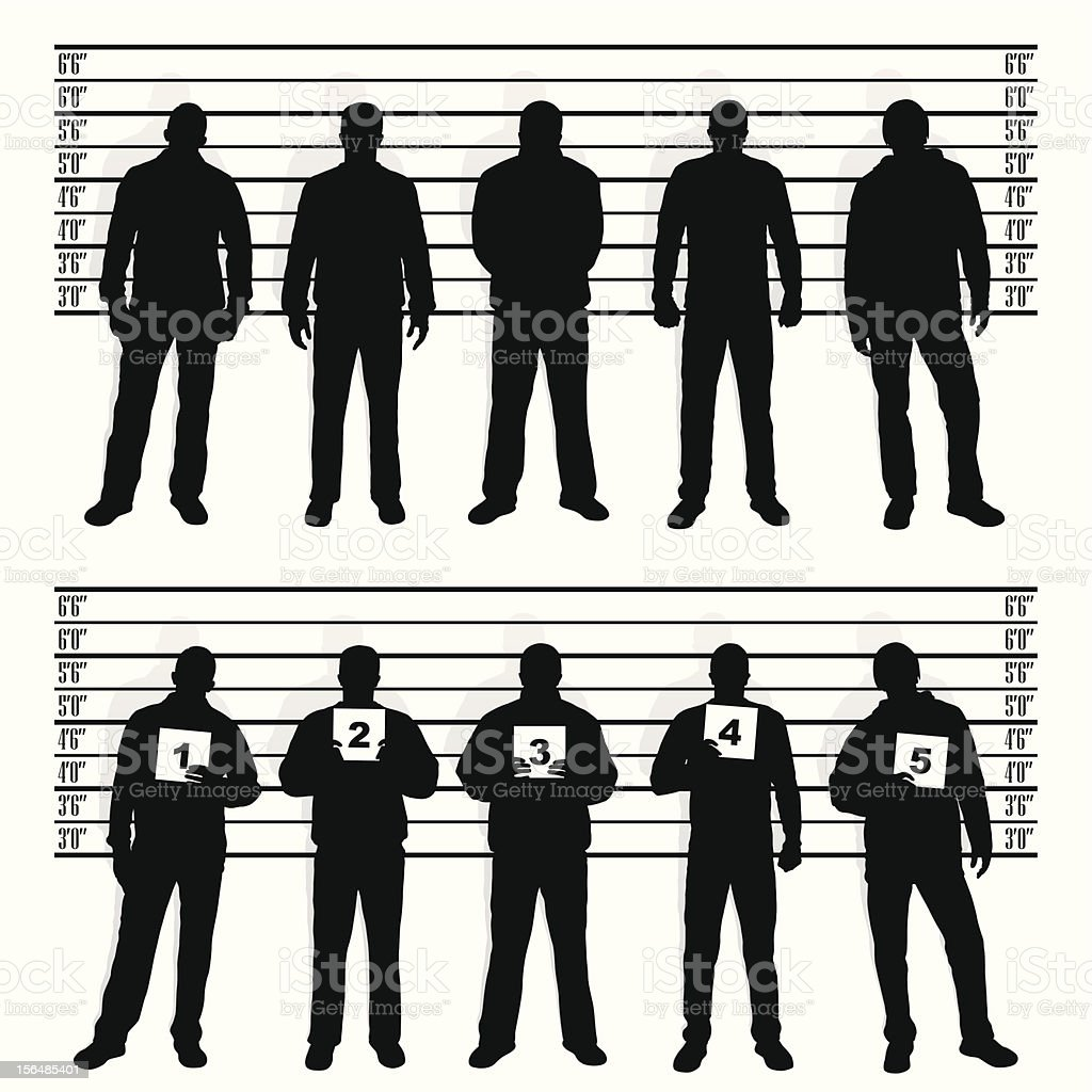 police line-up vector art illustration
