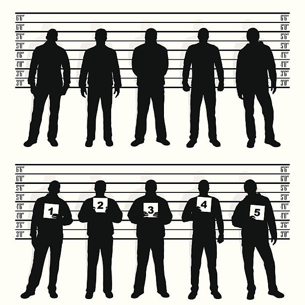 stockillustraties, clipart, cartoons en iconen met police line-up - confrontatie