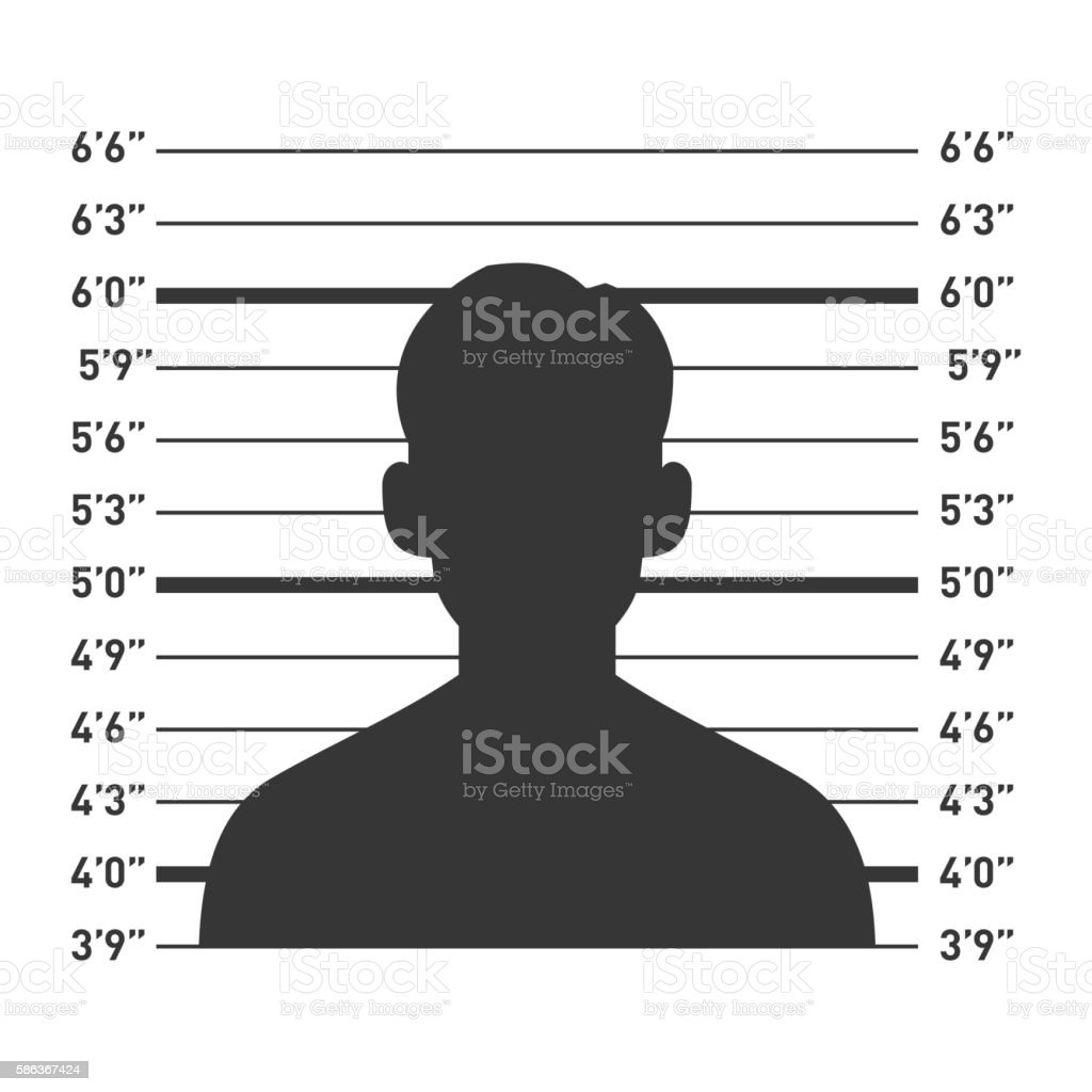 Police Lineup with Man Silhouette. Vector vector art illustration