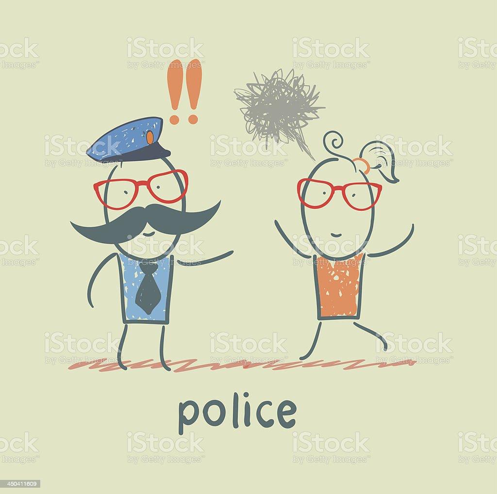 Police listen to the girl who runs vector art illustration