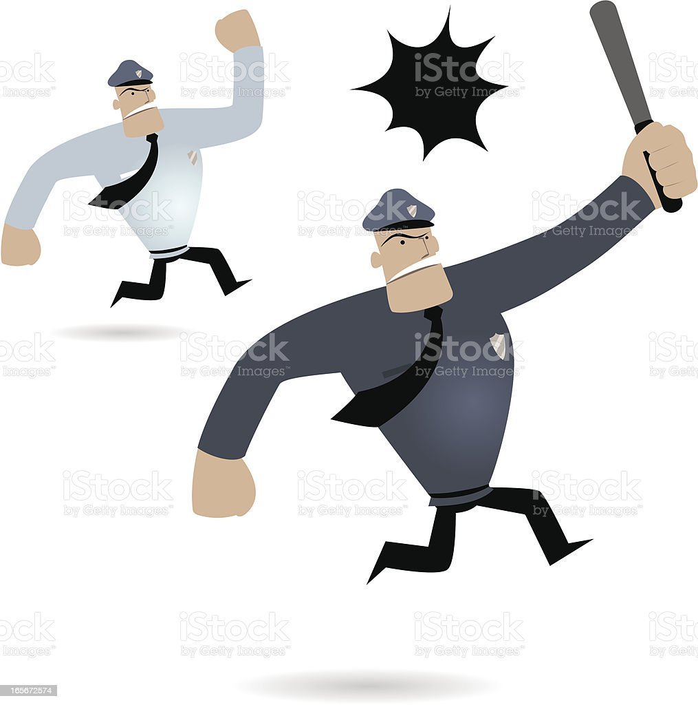 Police Man Running And Shouting( Cops Chasing ) royalty-free stock vector art