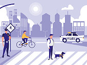 police man with car and people in road street vector illustration design