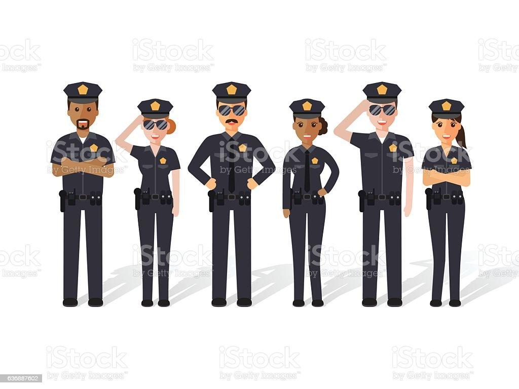 Polícia homens e mulheres - ilustração de arte em vetor