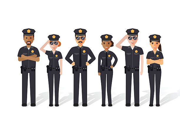 police men and women - police officer stock illustrations, clip art, cartoons, & icons