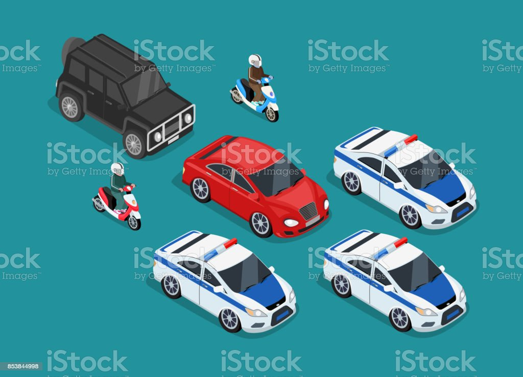 Police Motorcade Car Flat Design royalty-free police motorcade car flat design stock vector art & more images of arts culture and entertainment