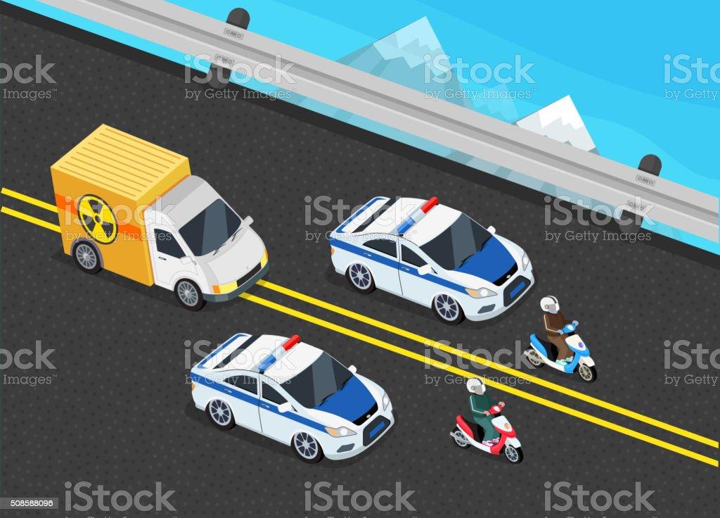 ilustración de coche policía de vehículos importante tóxico carga y
