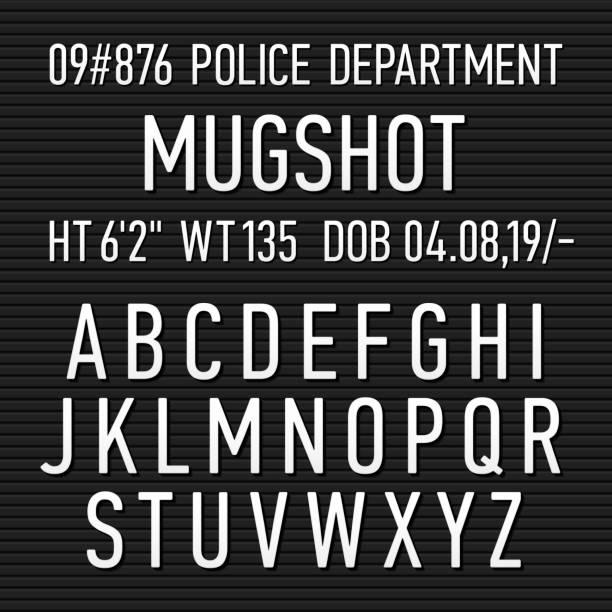 Police mugshot board sign alphabet Police mugshot board sign alphabet, numbers and punctuation symbols. Vector illustration with transparent effect. Eps10. mug shot stock illustrations