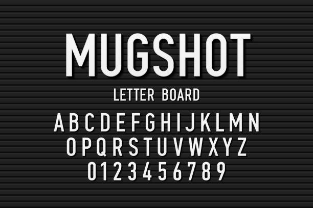 Police mugshot font Police mugshot letter board style font, changeable alphabet letters and numbers vector illustration police line up stock illustrations