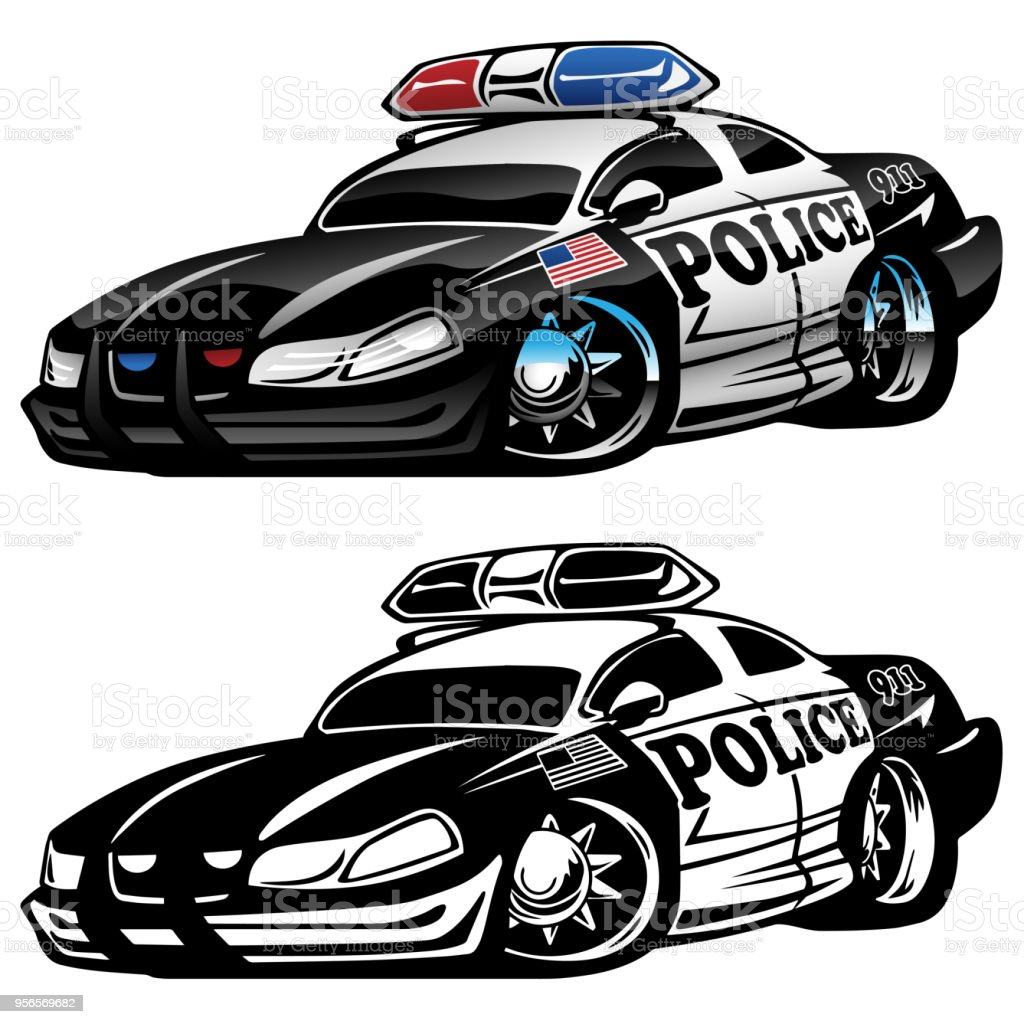 Police Muscle Car Cartoon Vector Illustration Stock Vector Art