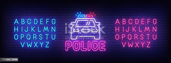 Police neon sign, bright signboard, light banner. Police logo, emblem and label. Neon sign creator. Neon text edit.