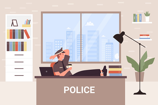Police office department with cartoon officer detective man