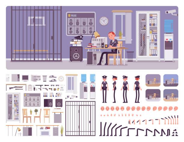 illustrations, cliparts, dessins animés et icônes de ensemble de création d'intérieur de bureau de police - bureau police