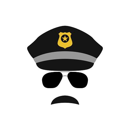 Police officer avatar illustration. Trendy policeman icon in sunglasses. Vector illustration.