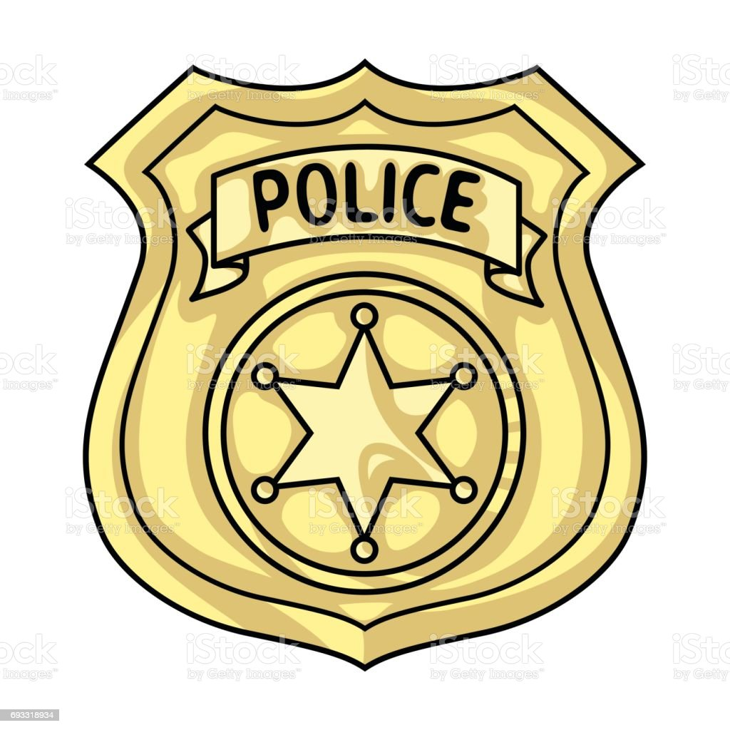 police officer badge icon in cartoon style isolated on white rh istockphoto com free vector police badge police badge vector art free