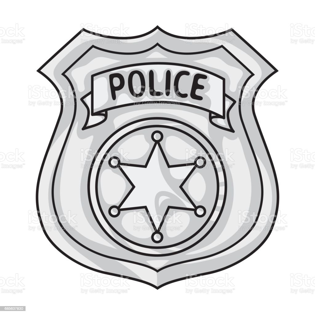 Police officer badge icon in monochrome style isolated on white background. Crime symbol stock vector illustration. police officer badge icon in monochrome style isolated on white background crime symbol stock vector illustration - arte vetorial de stock e mais imagens de arte royalty-free