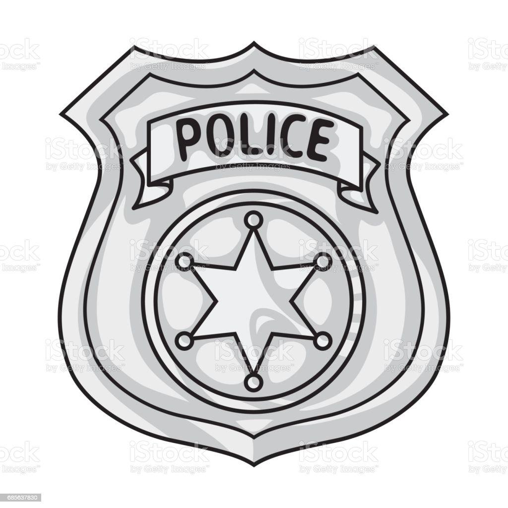 Polizist Abzeichen Symbol in monochromen Stil isoliert auf weißem Hintergrund. Kriminalität-Symbol-Lager Vektor-Illustration. Lizenzfreies polizist abzeichen symbol in monochromen stil isoliert auf weißem hintergrund kriminalitätsymbollager vektorillustration stock vektor art und mehr bilder von abzeichen