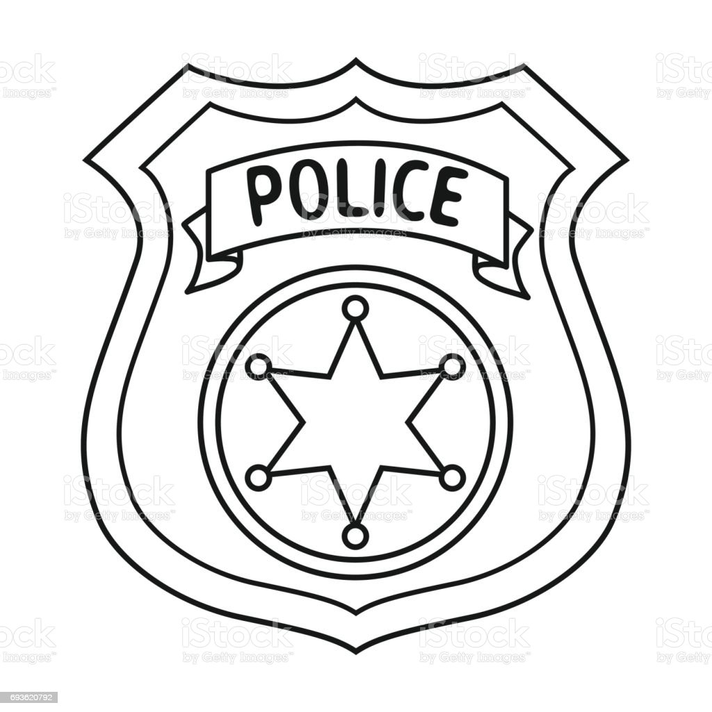 Police Officer Badge Icon In Outline Style Isolated On ...