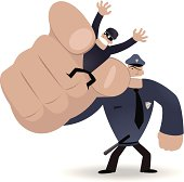 Vector illustration - Police officer catching(pinching) a criminal.