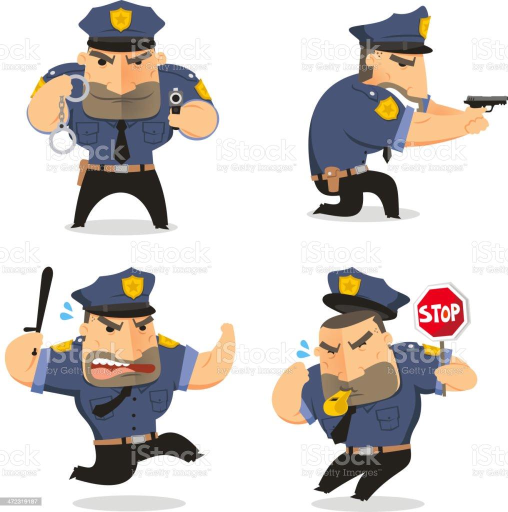 Police Officer Cop Set 2 vector art illustration