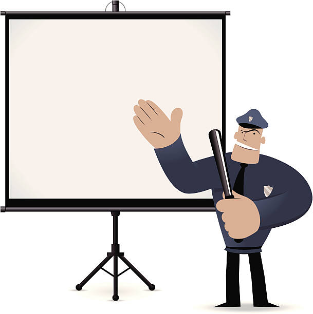 Police Officer giving a presentation with projection screen Vector illustration – Police Officer giving a presentation with projection screen.  police meeting stock illustrations