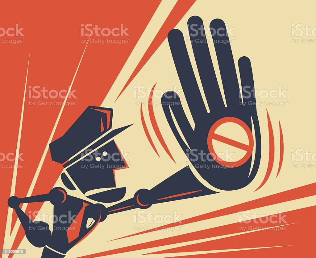Police officer giving (showing) big hand stop sign vector art illustration
