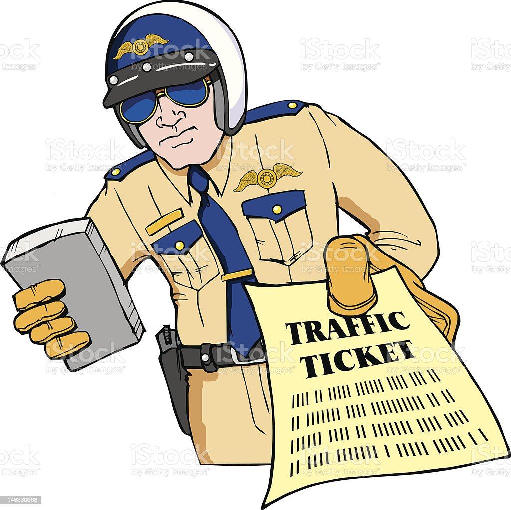 Police Officer giving traffic ticket vector art illustration