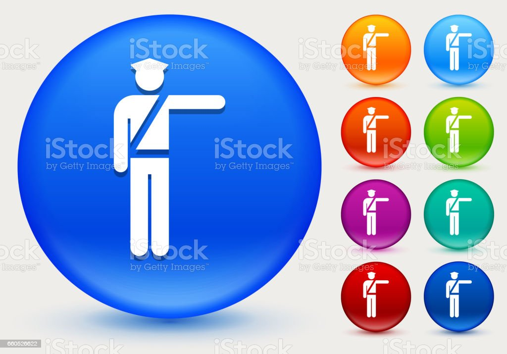 Police Officer Icon On Shiny Color Circle Buttons Stock
