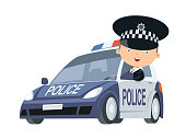 Vector Police Officer in a Car