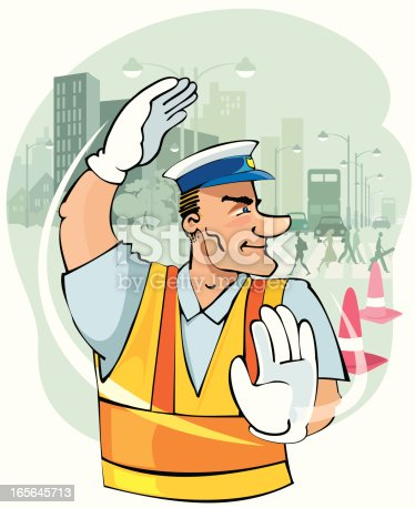 A traffic policeman in reflective jacket directs traffic. Cityscape, people crossing, traffic cones and traffic silhouettes in the background. Hand drawn image.