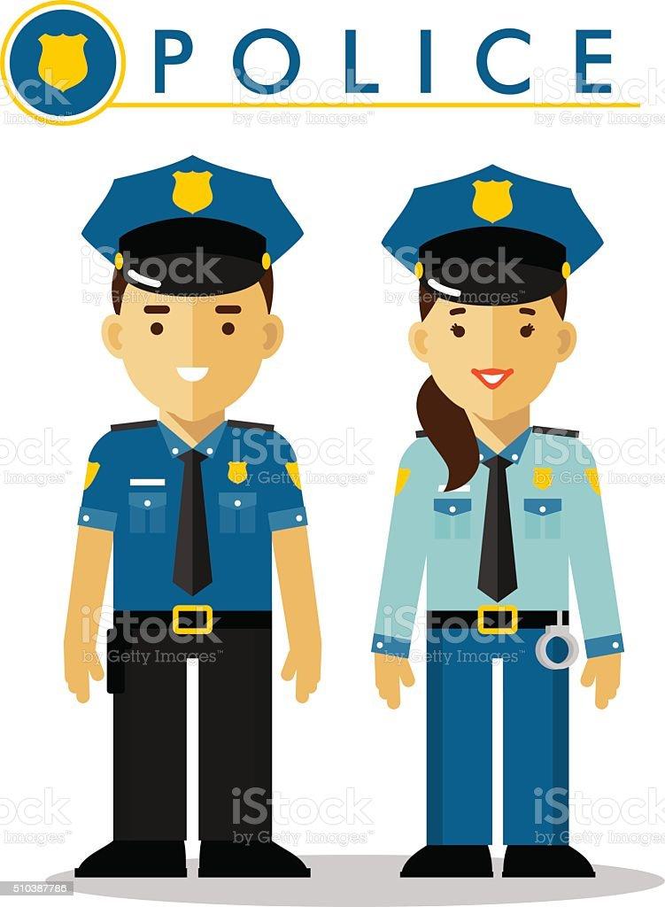 Police officer in uniform vector art illustration