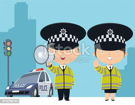 Vector Police officer, man and woman