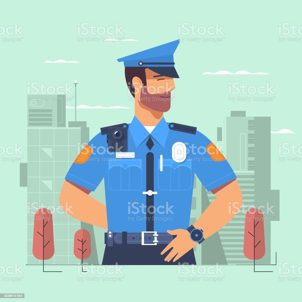 Police officer, man of police force, standing full face in uniform of policeman vector art illustration