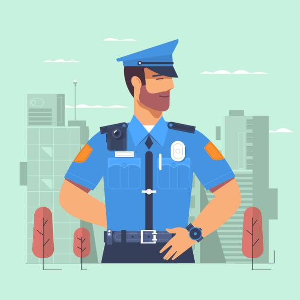 illustrazioni stock, clip art, cartoni animati e icone di tendenza di police officer, man of police force, standing full face in uniform of policeman - polizia