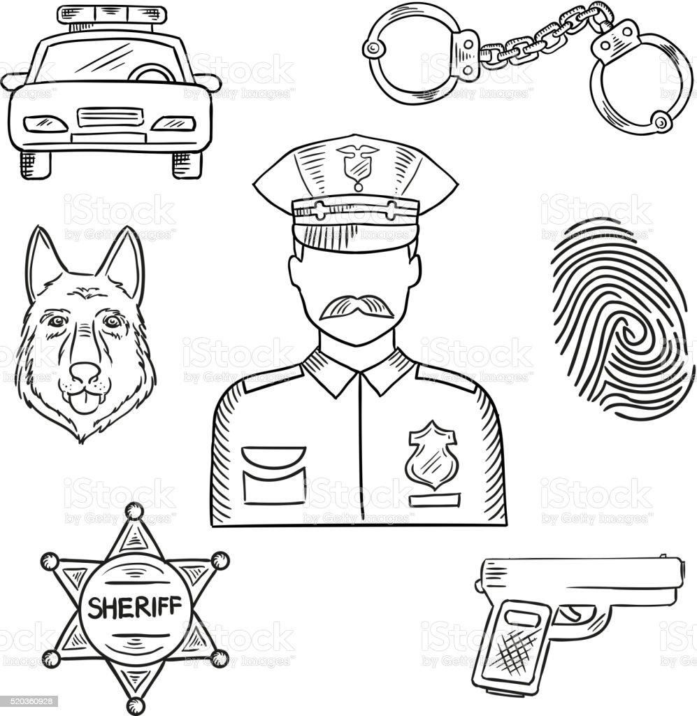 Policial ou polícia profissão ícone de rascunho - ilustração de arte em vetor