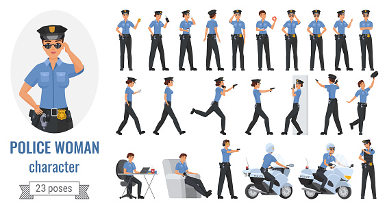 Police officer poses set, cartoon young woman working in different poses, gestures