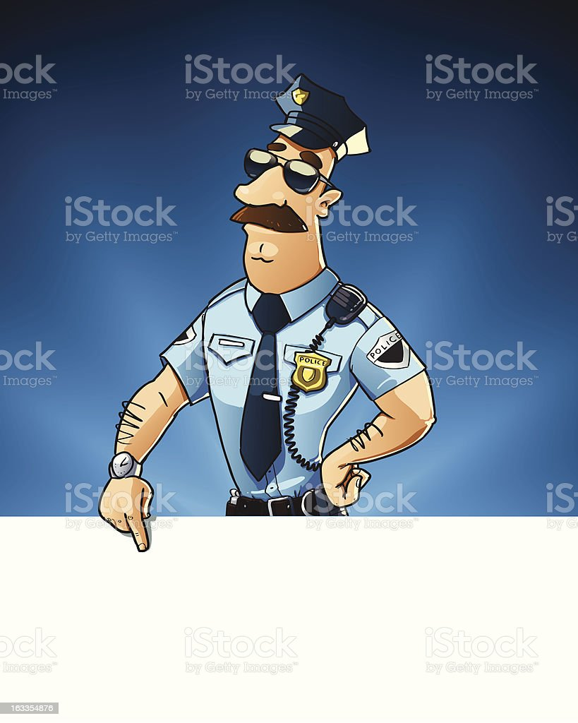 police officer shows on the blank signboard royalty-free stock vector art