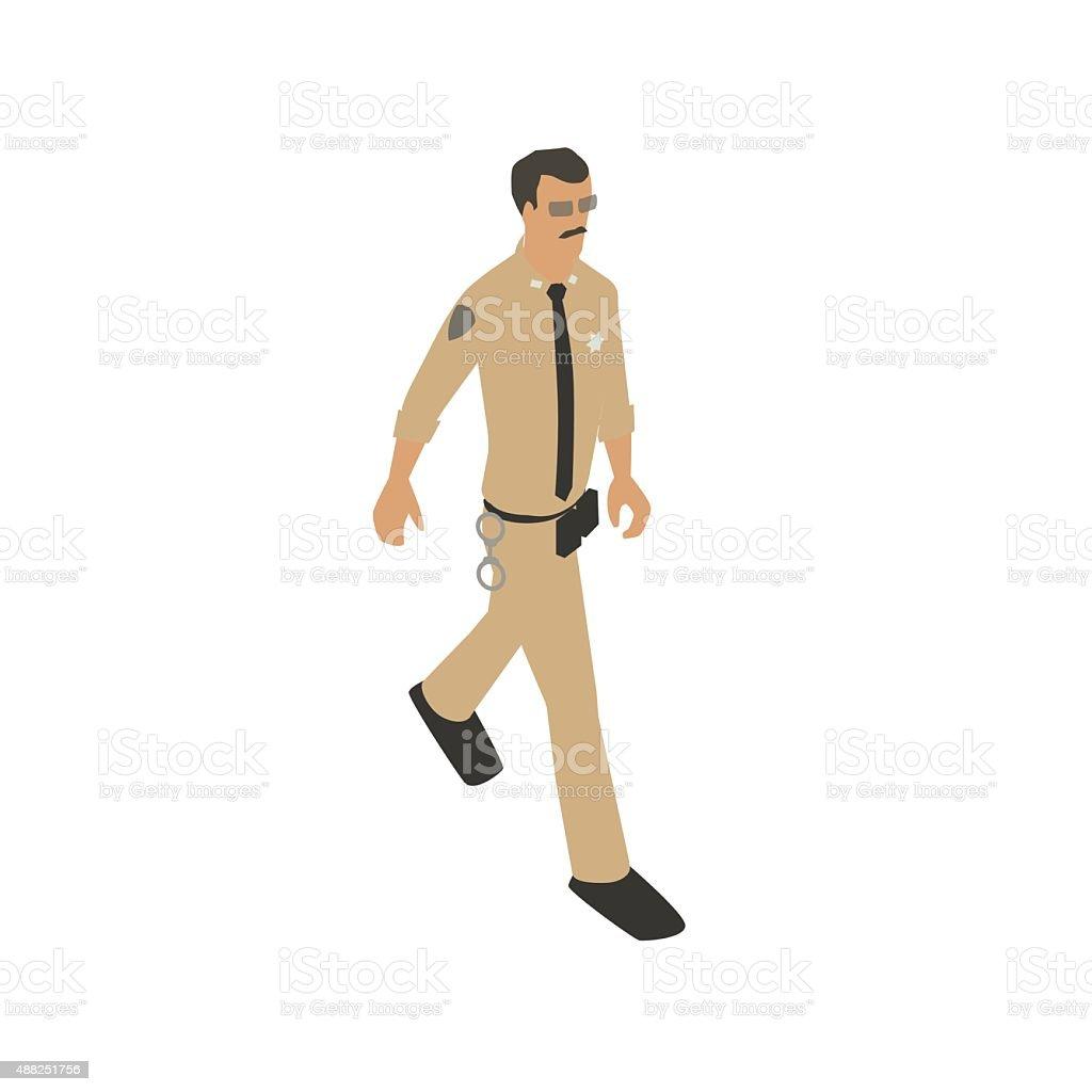Police officer tan uniform illustration vector art illustration