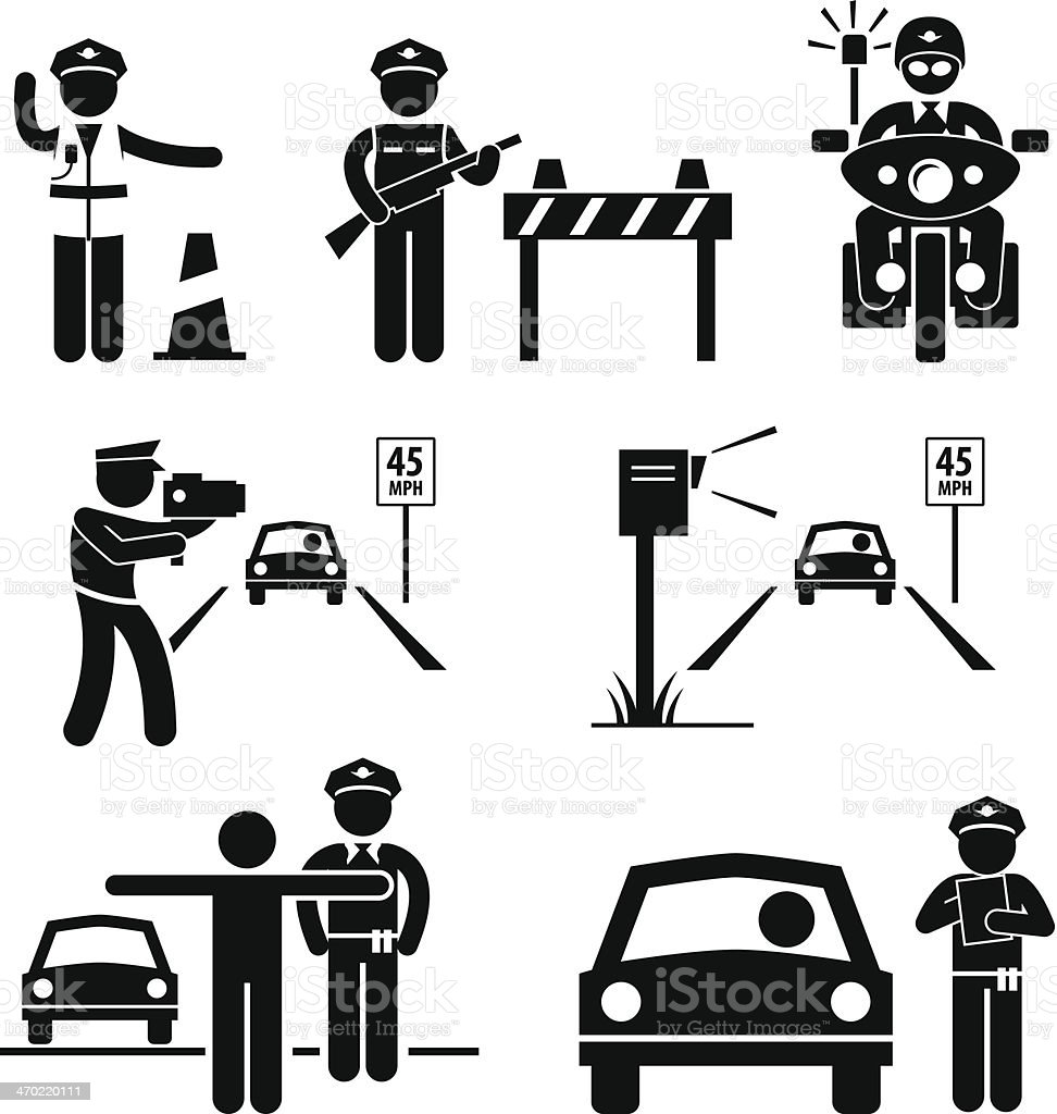 Police Officer Traffic on Duty Stick Figure Pictogram Icon vector art illustration