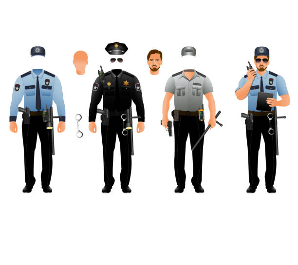 Police officer uniform. Vector set, isolated Police officer uniform. Vector design. Set isolated on white background police uniform stock illustrations