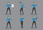 Set of six vector illustration of policeman or security officer cartoon characters in blue uniform and peaked cap isolated on plain grey background.