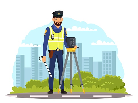 Police officer with camera on road. Policeman standing with radar device, speed controller. Safe driving in city vector illustration. Man in uniform patrols on driveway street
