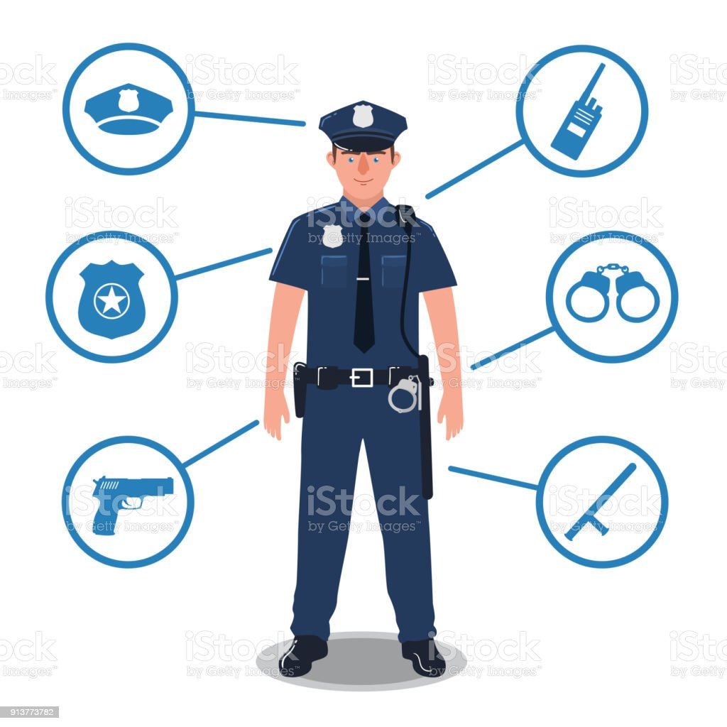 Police officer with police equipment. Radio, baton, badge, gun, handcuffs, hat vector art illustration