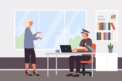 Police officer work with policeman in police station cabinet